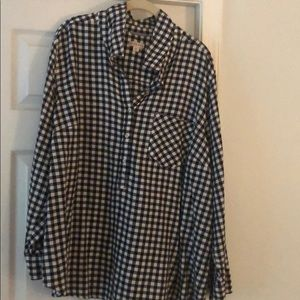 Long sleeve 3x black & white checkered cotton top